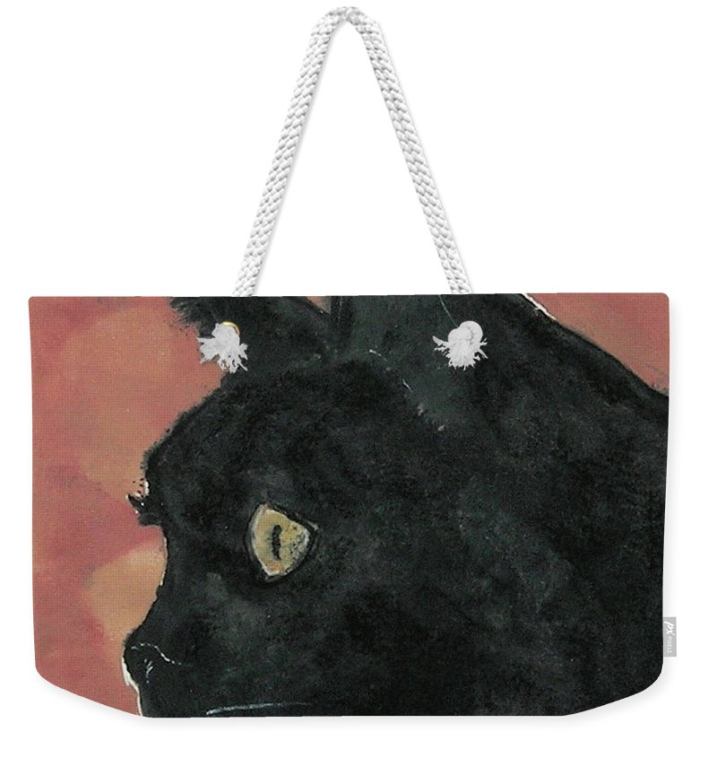 Cat Weekender Tote Bag featuring the mixed media Night Vision by Cori Solomon