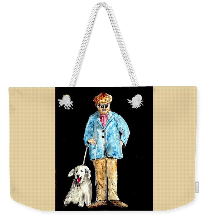 Man Weekender Tote Bag featuring the painting Night Walker by Kathy Ellinghouse