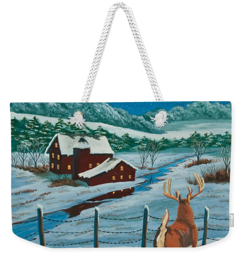 Deer Paintings Weekender Tote Bag featuring the painting Night Watch by Charlotte Blanchard