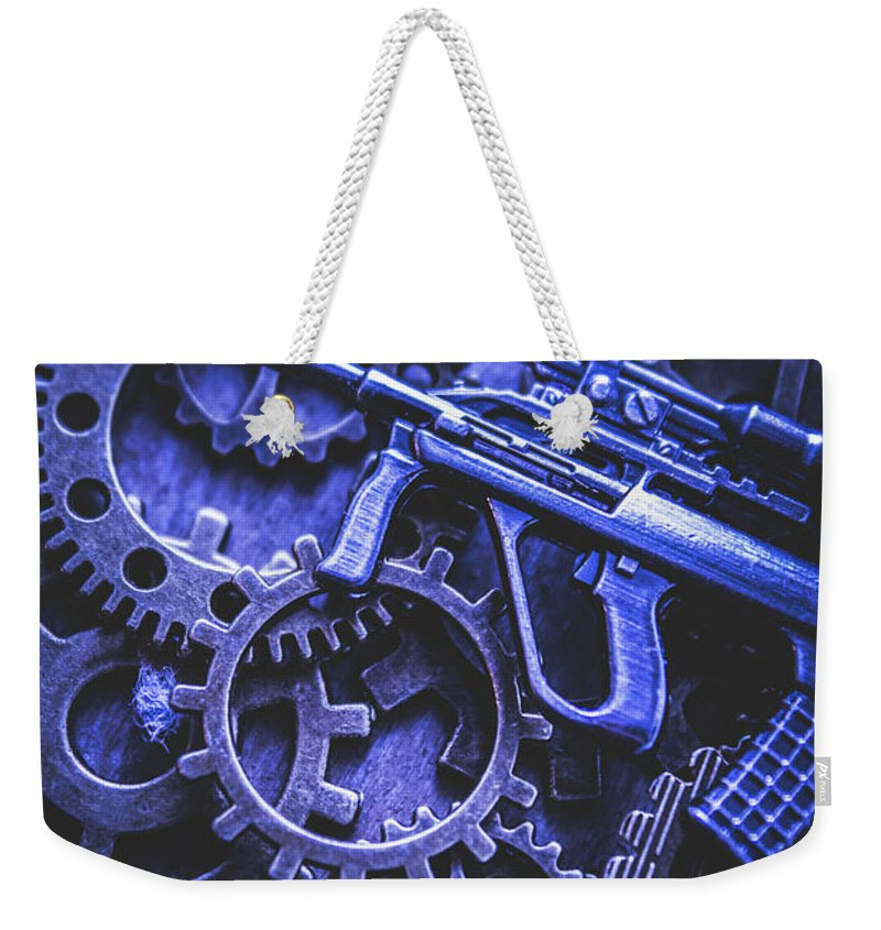 Terrorism Weekender Tote Bag featuring the photograph Night Watch Gears by Jorgo Photography - Wall Art Gallery