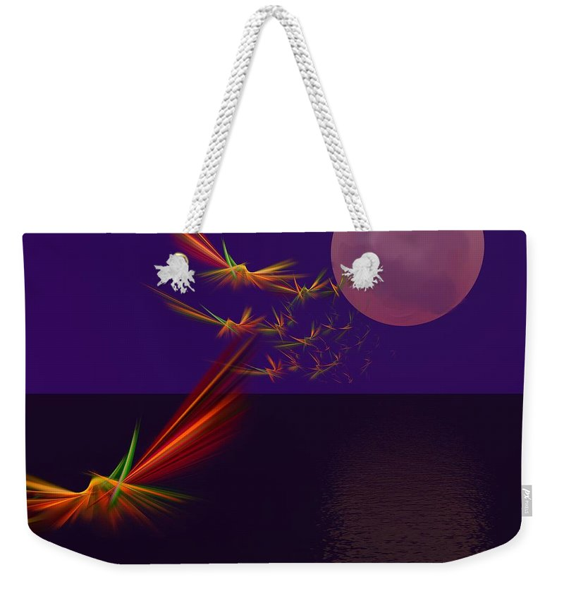 Abstract Digital Photo Weekender Tote Bag featuring the digital art Night Wings by David Lane