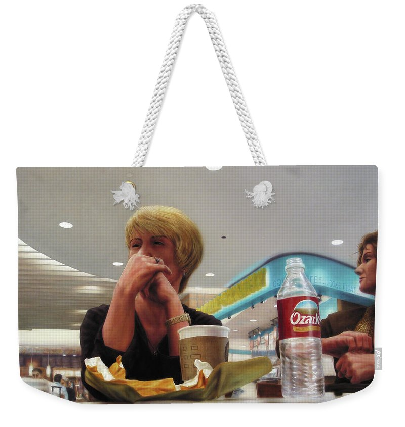 Restaurant Weekender Tote Bag featuring the painting Nighthawks At The Foodcourt by James W Johnson