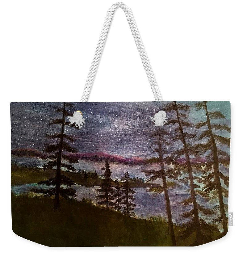 Rangely Maine Weekender Tote Bag featuring the painting Nightime Rangely Lake Maine by Anne Sands