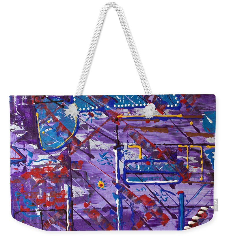 Cityscape Weekender Tote Bag featuring the painting Nightlife Lights by J R Seymour