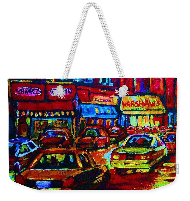 Schwartzs And Warshaws Weekender Tote Bag featuring the painting Nightlights On Main Street by Carole Spandau