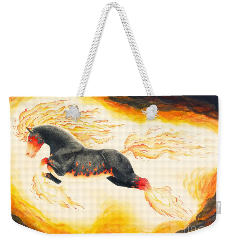 Nightmare Weekender Tote Bag featuring the painting Nightmare 3.0 by Melissa A Benson