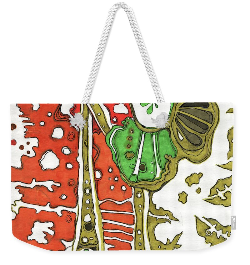 Sandra Church Weekender Tote Bag featuring the drawing Nightmare In The Garden by Sandra Church