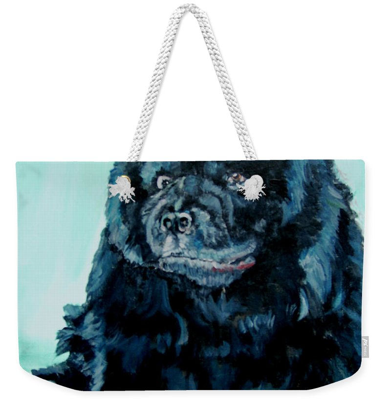 Dog Weekender Tote Bag featuring the painting Nikki The Chow by Bryan Bustard