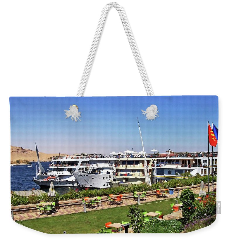Aswan Weekender Tote Bag featuring the photograph Nile Cruise Ships Aswan by Debbie Oppermann
