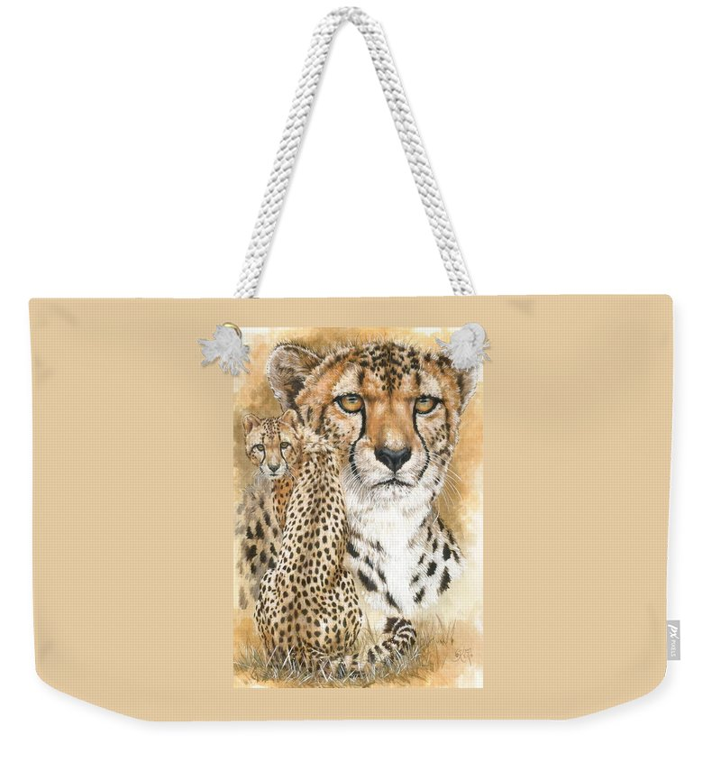 Cheetah Weekender Tote Bag featuring the mixed media Nimble by Barbara Keith