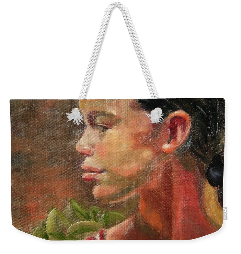 Mexico Weekender Tote Bag featuring the painting Nina de Trenza by Lilibeth Andre
