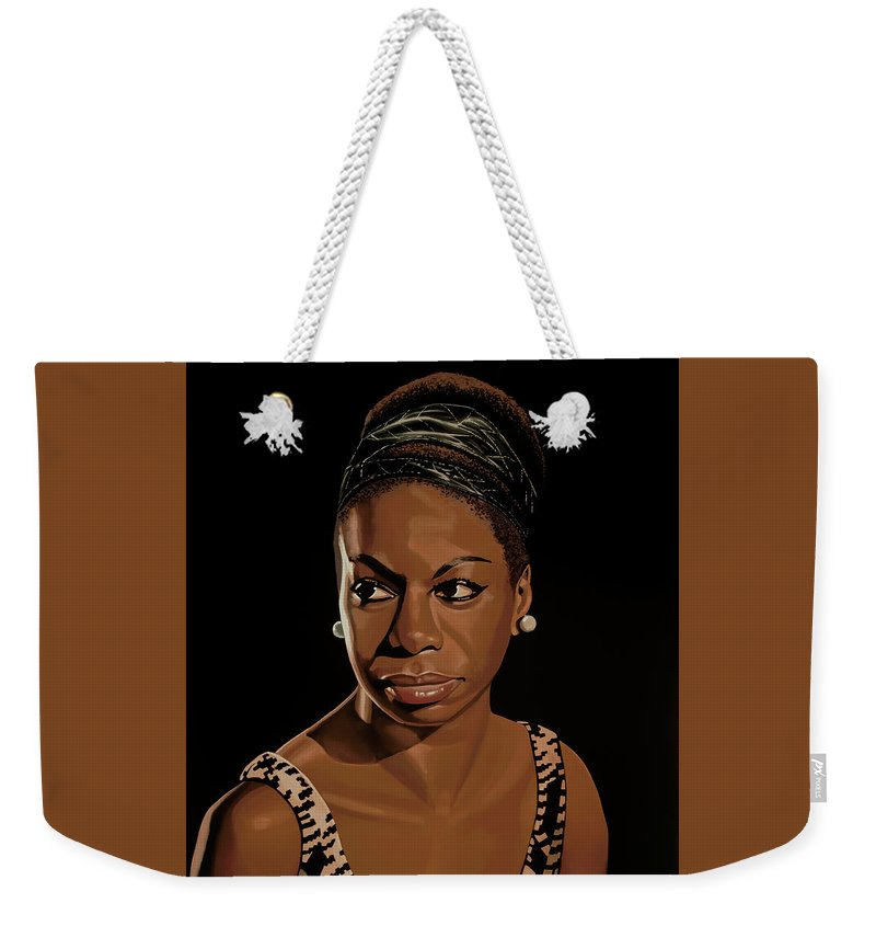 Nina Simone Weekender Tote Bag featuring the painting Nina Simone Painting 2 by Paul Meijering
