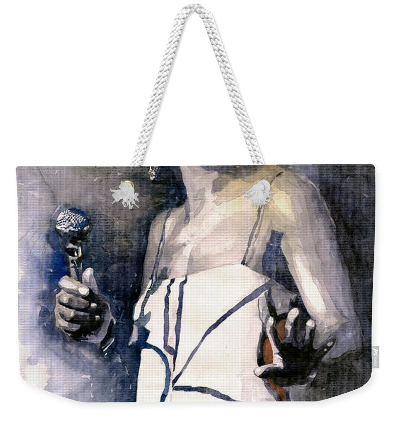 Watercolor Weekender Tote Bag featuring the painting Nina Simone by Yuriy Shevchuk