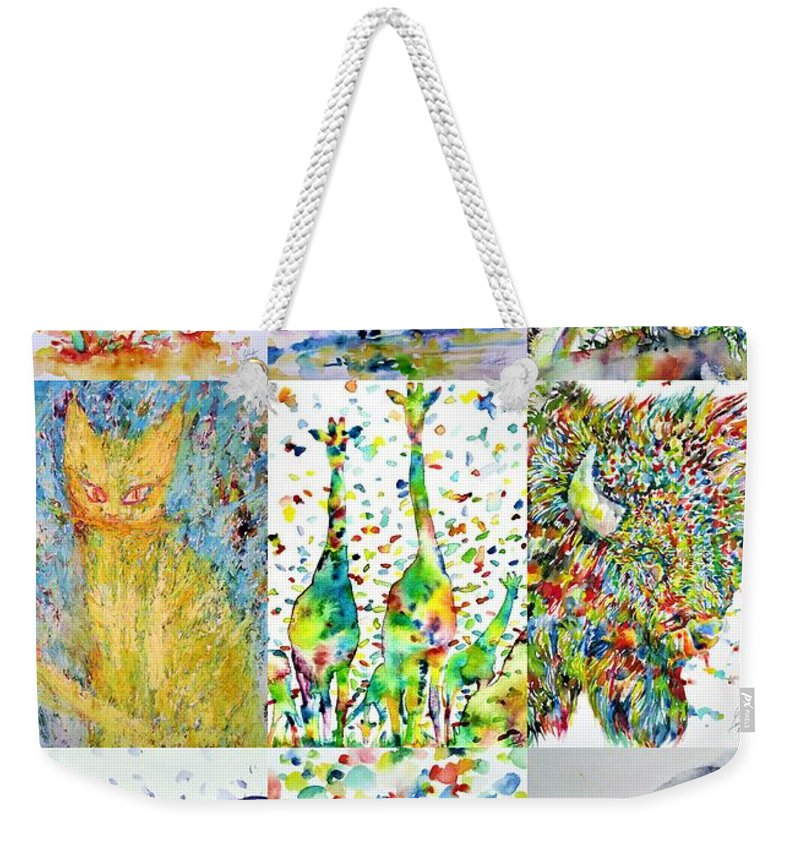 Horse Weekender Tote Bag featuring the painting Nine Animals - Version 1 by Fabrizio Cassetta