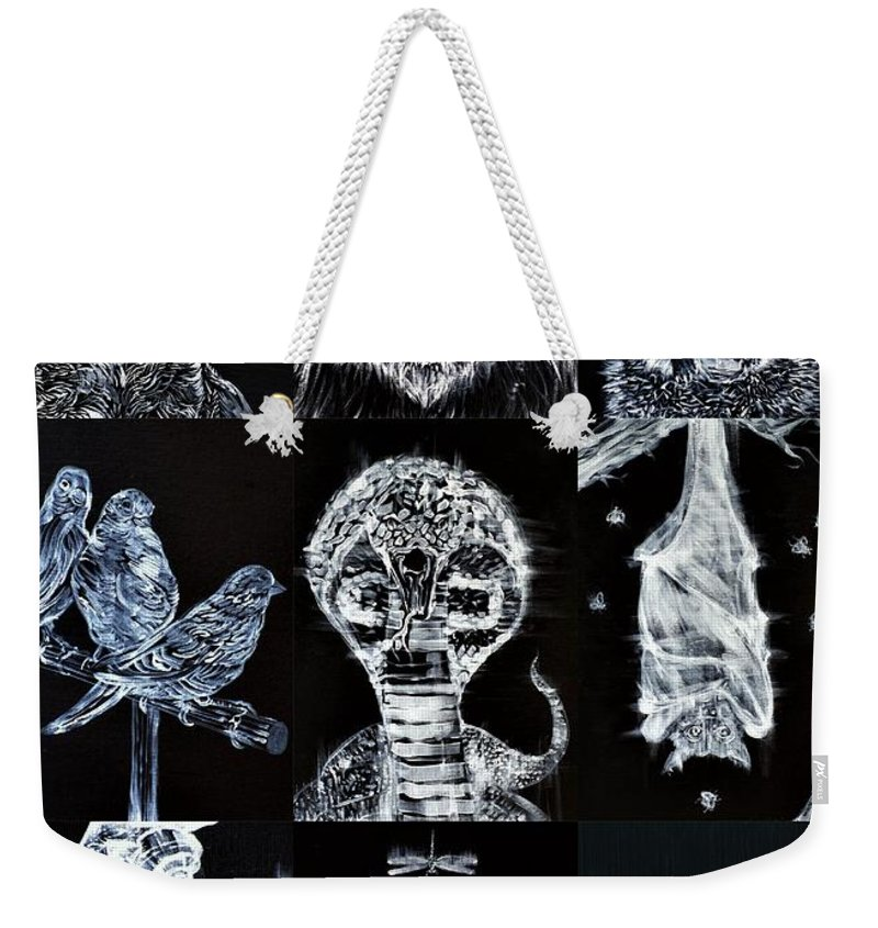 Cat Weekender Tote Bag featuring the painting Nine Animals - Version 3 by Fabrizio Cassetta