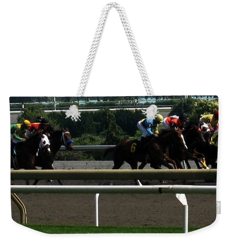 Horse Weekender Tote Bag featuring the photograph Nine Coming Up On The Outside by Ian MacDonald
