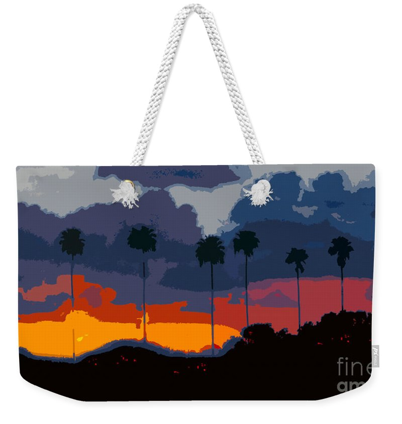Palm Trees Weekender Tote Bag featuring the painting Nine Palms by David Lee Thompson