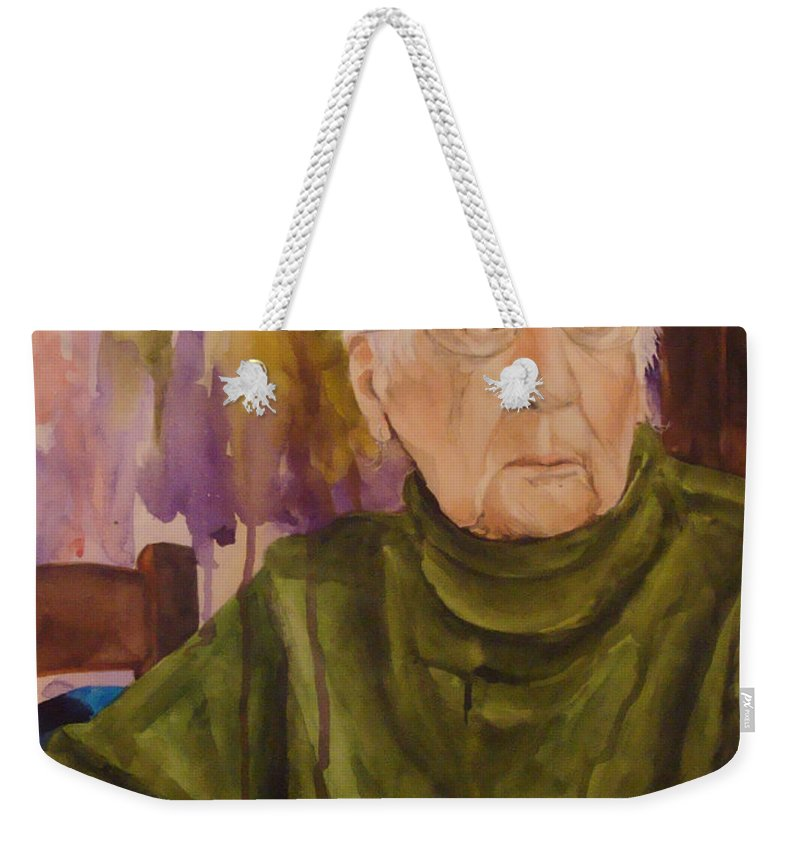 Portrait Weekender Tote Bag featuring the painting Ninety Years Young by Jean Blackmer