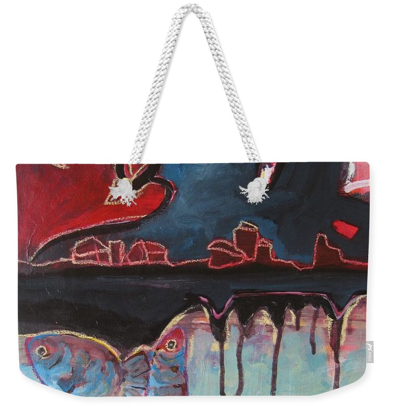 Abstract Paintings Weekender Tote Bag featuring the painting Nipper by Seon-Jeong Kim