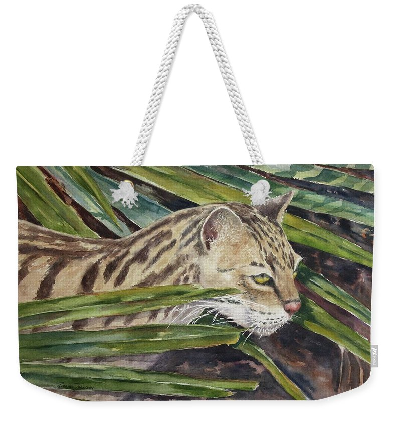 Narvana Weekender Tote Bag featuring the painting Nirvana - Ocelot by Roxanne Tobaison