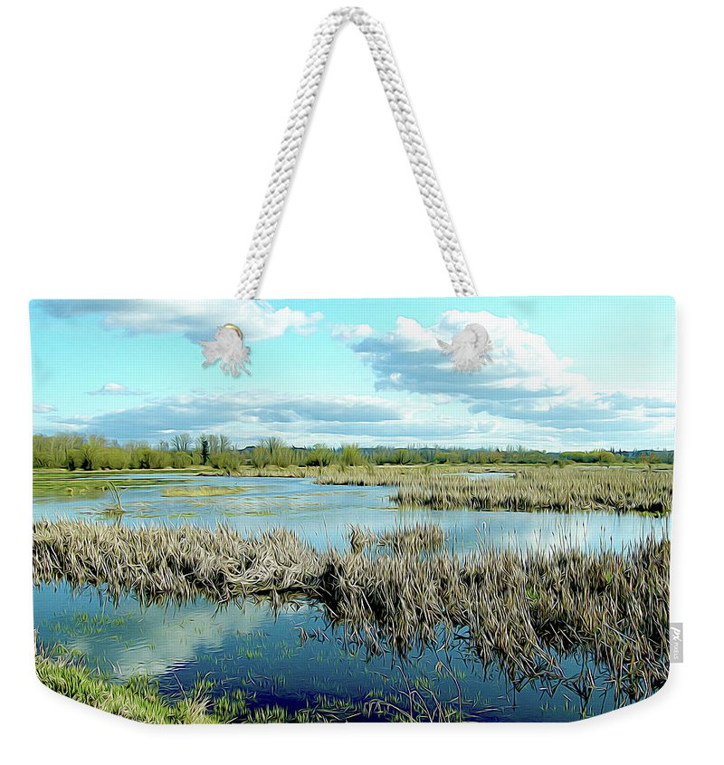 Nature Weekender Tote Bag featuring the photograph Nisqually Marsh by Linda Carruth