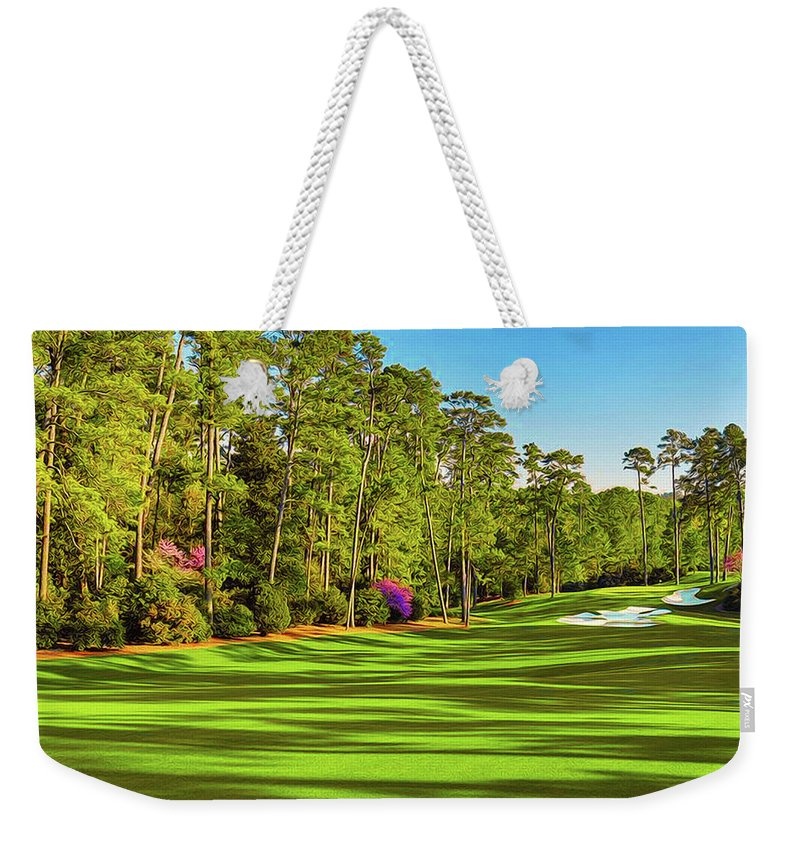Home Art Weekender Tote Bag featuring the digital art No. 10 Camellia 495 Yards Par 4 by Don Kuing