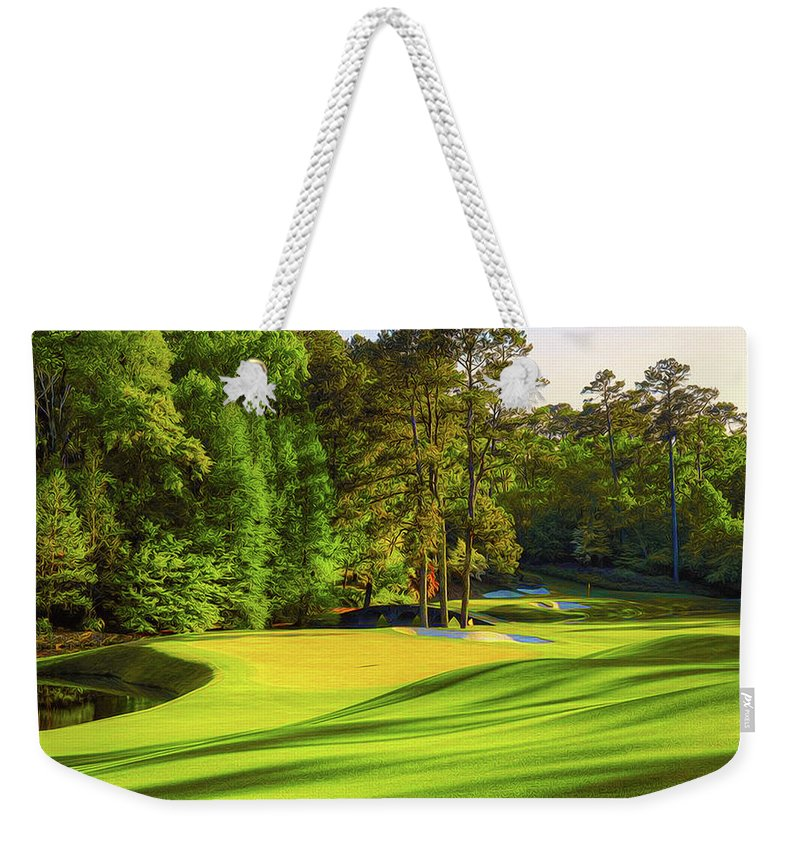 Home Art Weekender Tote Bag featuring the digital art No. 11 White Dogwood 505 Yards Par 4 by Don Kuing