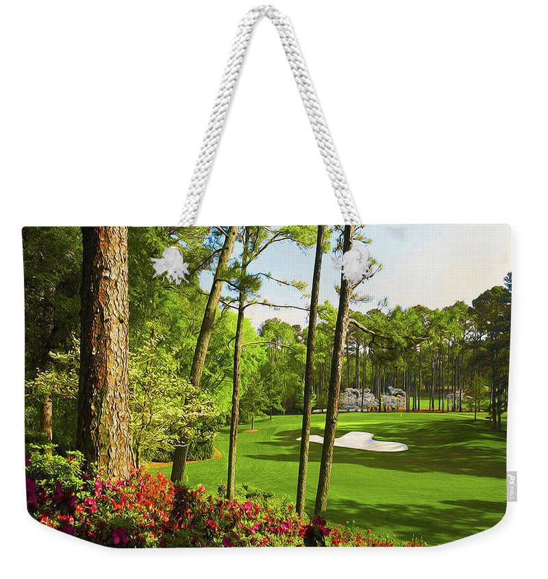 Home Art Weekender Tote Bag featuring the digital art No. 6 Juniper 180 Yards Par 3 by Don Kuing