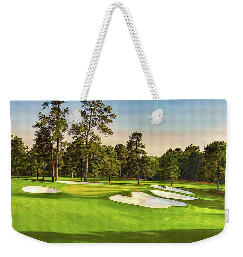 Home Art Weekender Tote Bag featuring the digital art No. 7 Pampas 450 Yards Par 4 by Don Kuing