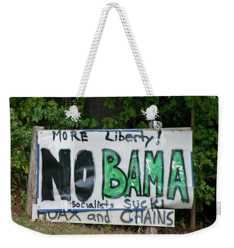 Sign Weekender Tote Bag featuring the photograph No Bama by David Arment