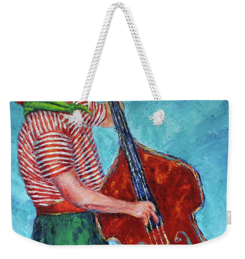 Palette Knife Weekender Tote Bag featuring the painting No Blues Today by Shannon Grissom
