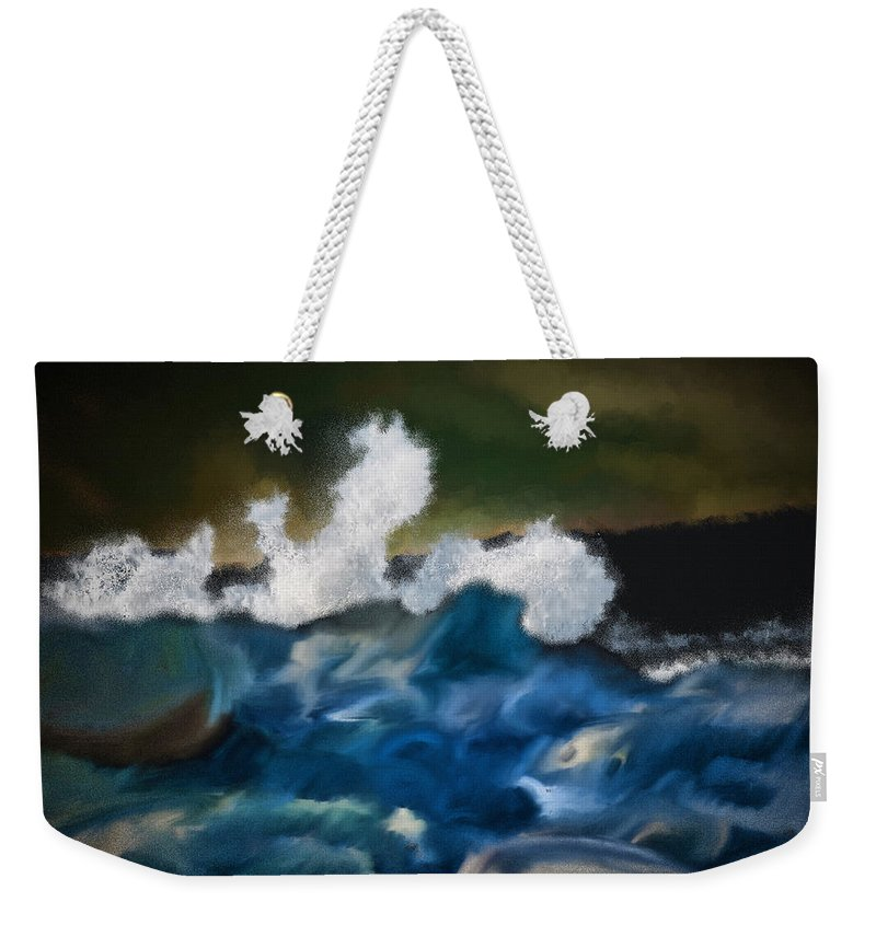 Ocean Weekender Tote Bag featuring the digital art No Calm Before The Storm by Patti Parish