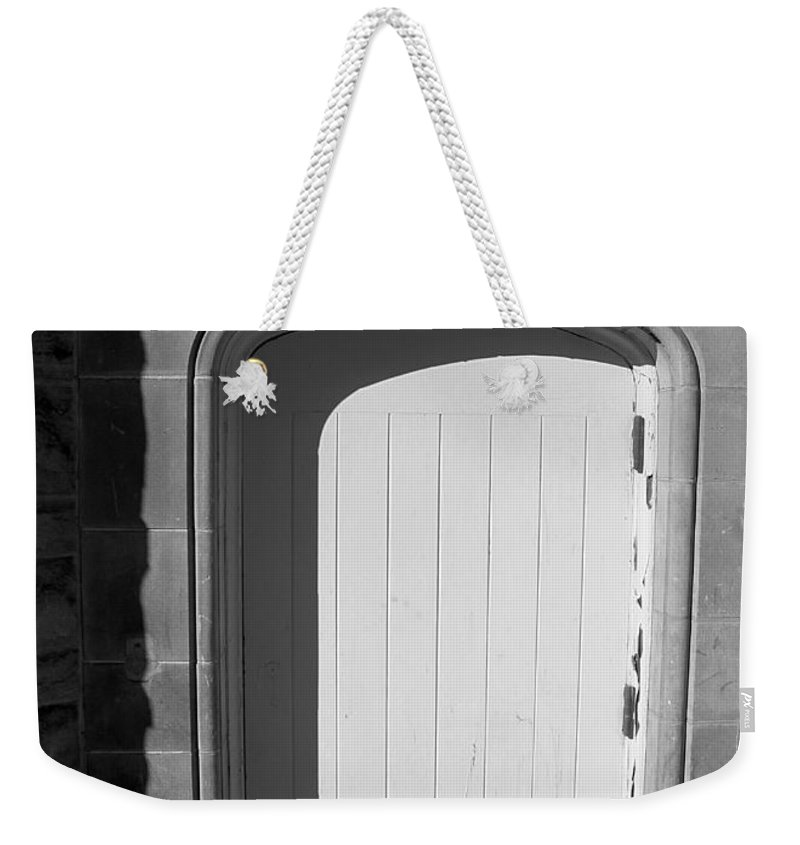 Black And White Weekender Tote Bag featuring the photograph No Entrance by Nina Silver