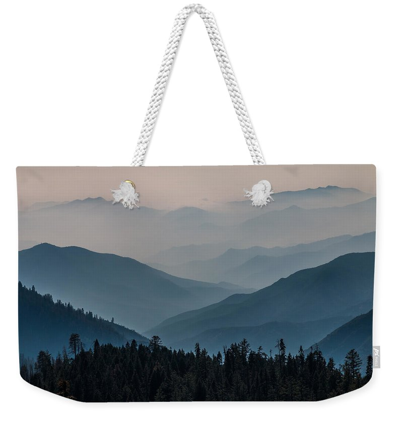 Generals Highway Weekender Tote Bag featuring the photograph Misty Blue Shades Of Generals Highway 2 by Patti Deters