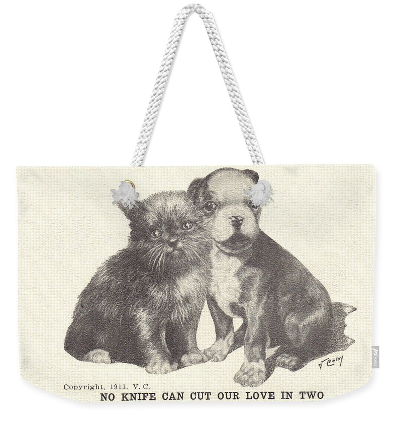 Weekender Tote Bag featuring the digital art No Knife Can Cut Our Love In Two by Colleen Cornelius