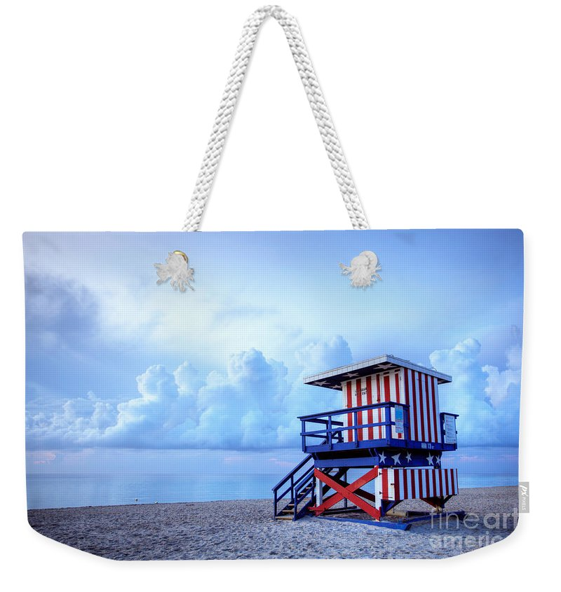 Miami Weekender Tote Bag featuring the photograph No Lifeguard On Duty by Martin Williams