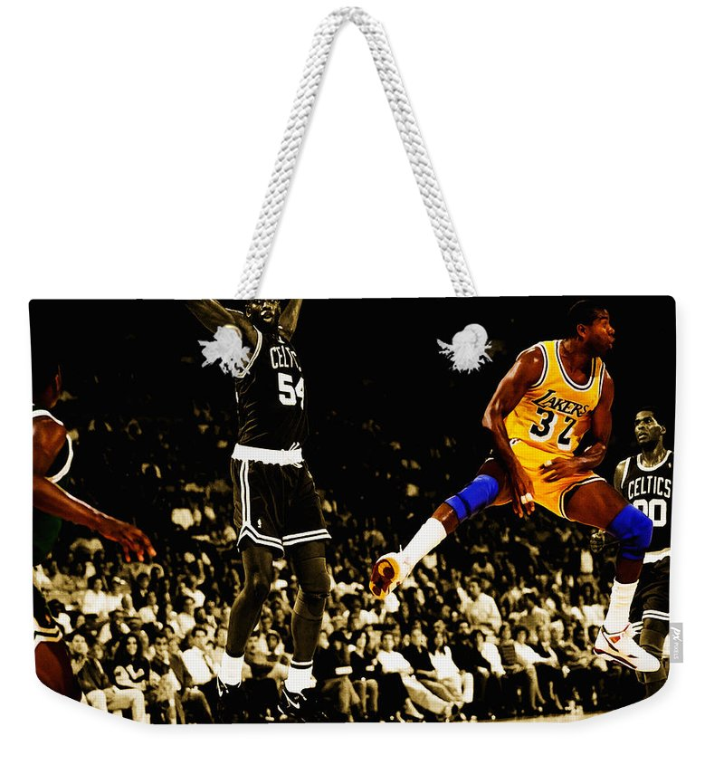 Magic Johnson Weekender Tote Bag featuring the digital art No Look Pass 3 by Brian Reaves