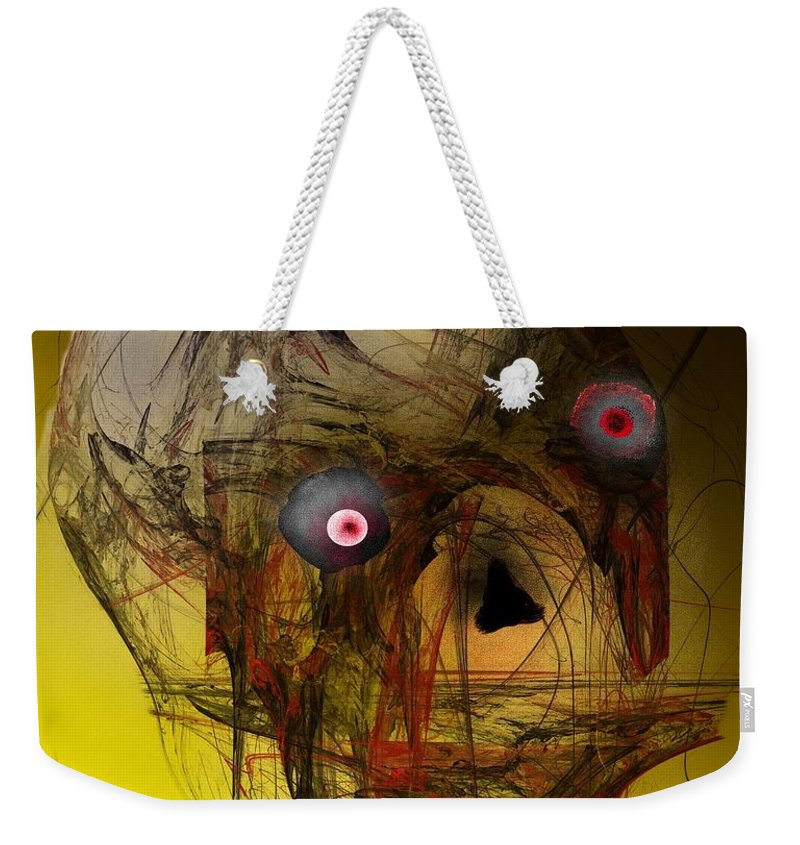 Skull Weekender Tote Bag featuring the digital art No Mouth by David Lane