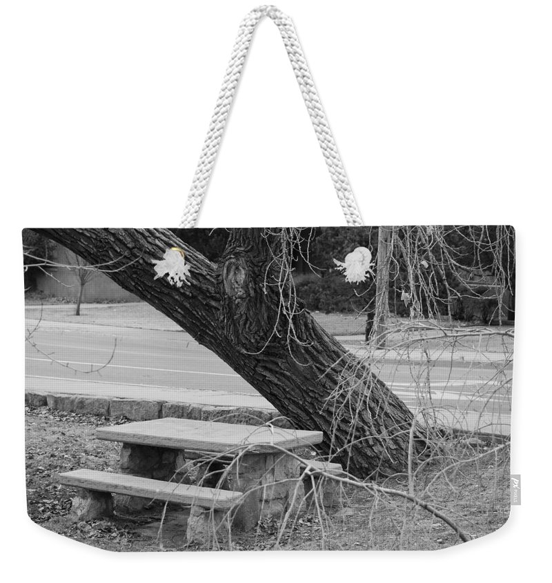Trees Weekender Tote Bag featuring the photograph No One Sits Here In Black And White by Rob Hans