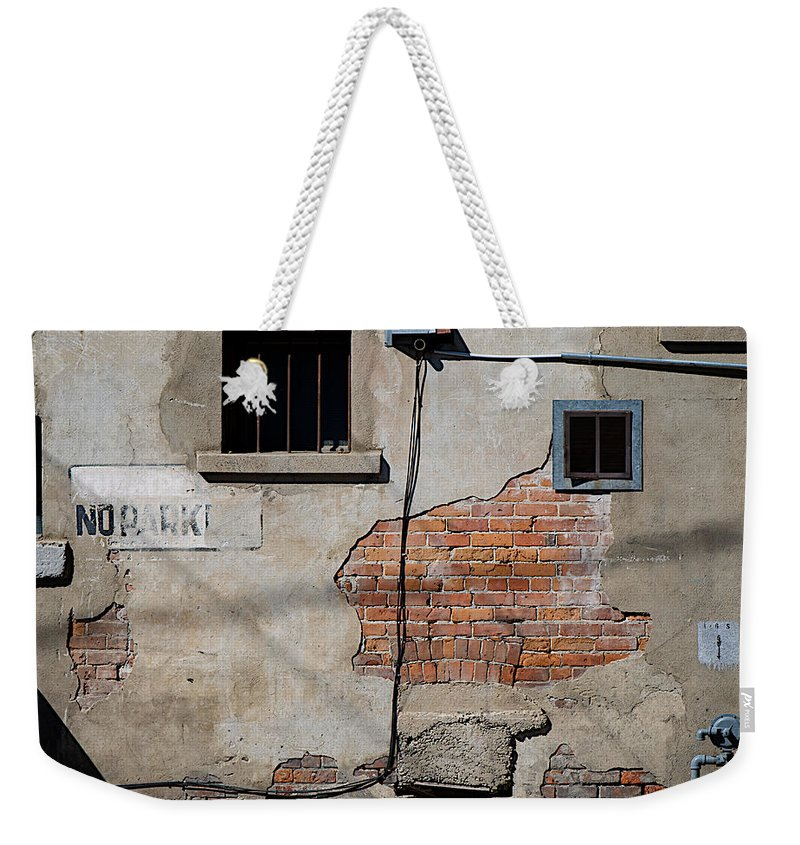 No Parking Weekender Tote Bag featuring the photograph No Parking by Lisa Knechtel