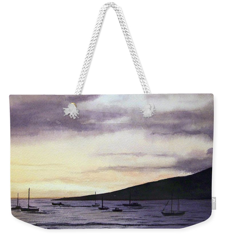 Seascape Weekender Tote Bag featuring the painting No Safer Harbor Lahaina Hawaii by Brenda Owen