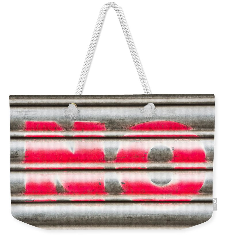 Abstract Weekender Tote Bag featuring the photograph No Sign by Tom Gowanlock
