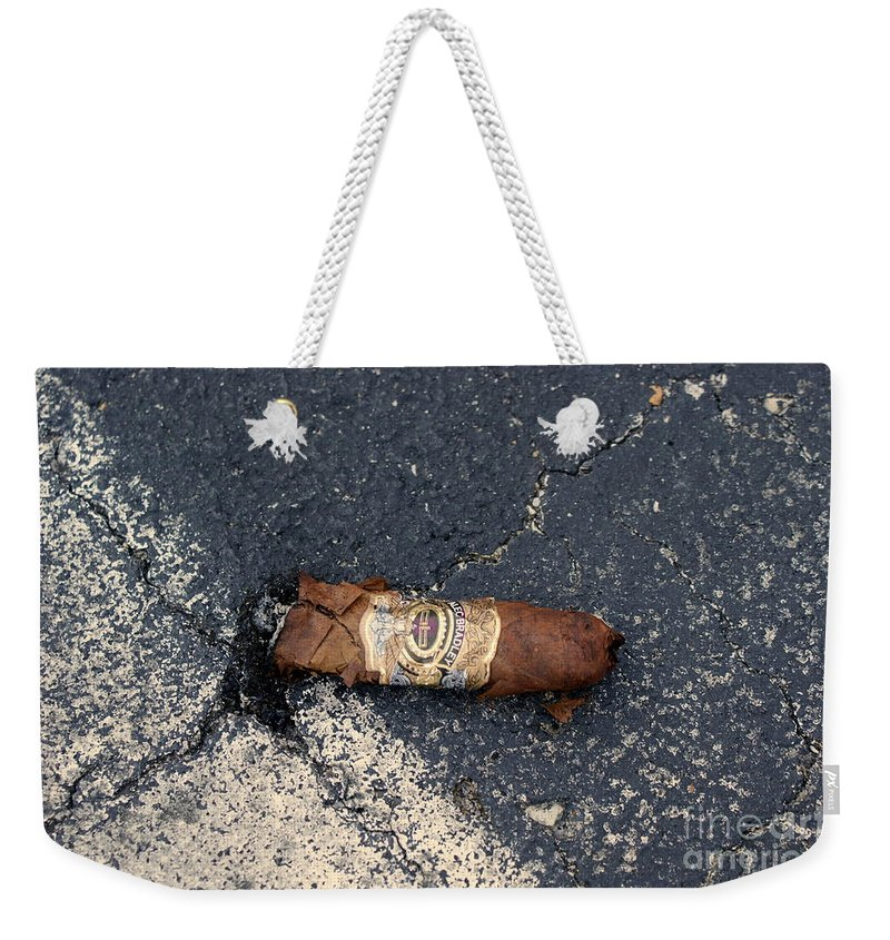 Cigar Weekender Tote Bag featuring the photograph No Smoking by Jennifer Diaz