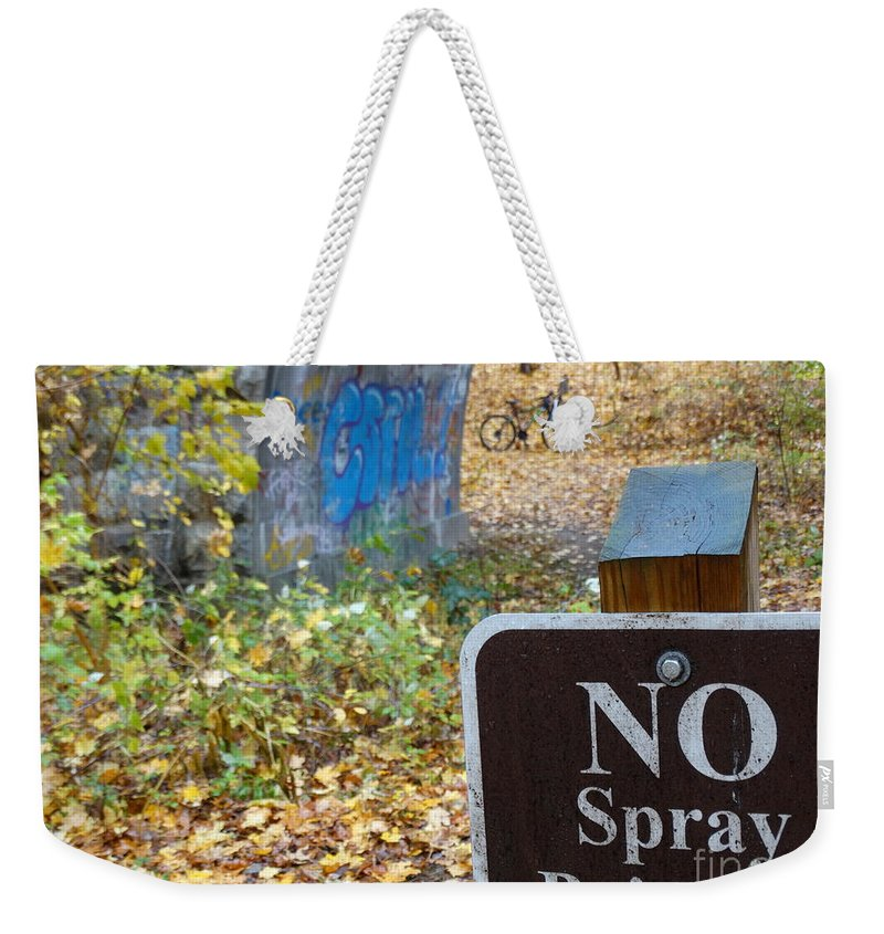 Graffiti Weekender Tote Bag featuring the photograph No Spray Painting by Gina Sullivan