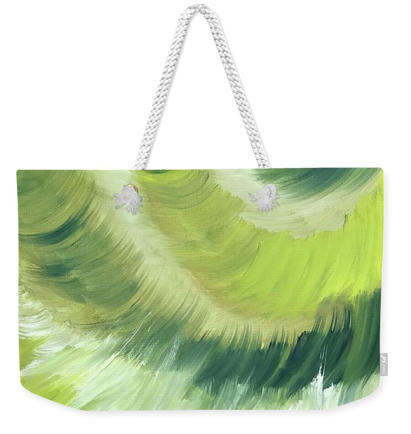 Abstract Weekender Tote Bag featuring the painting No Strings Attached by Sheila Mashaw