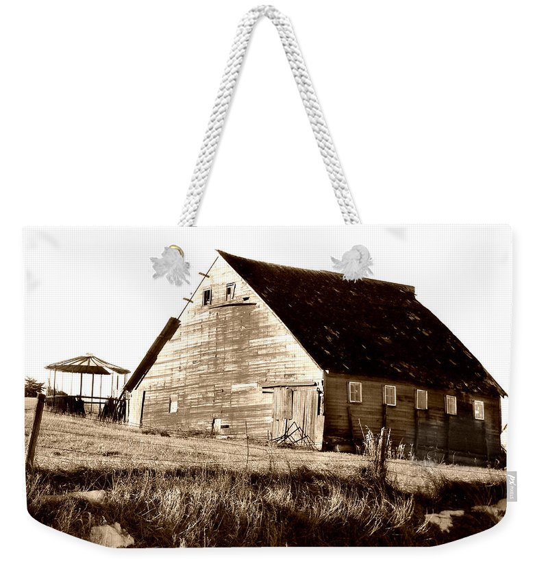 Barn Weekender Tote Bag featuring the digital art No Use by Julie Hamilton
