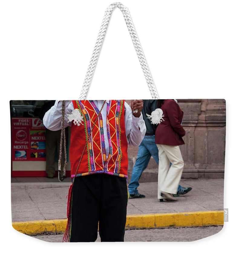 Warning Sign Weekender Tote Bag featuring the photograph No Walking On Median by Bob Phillips