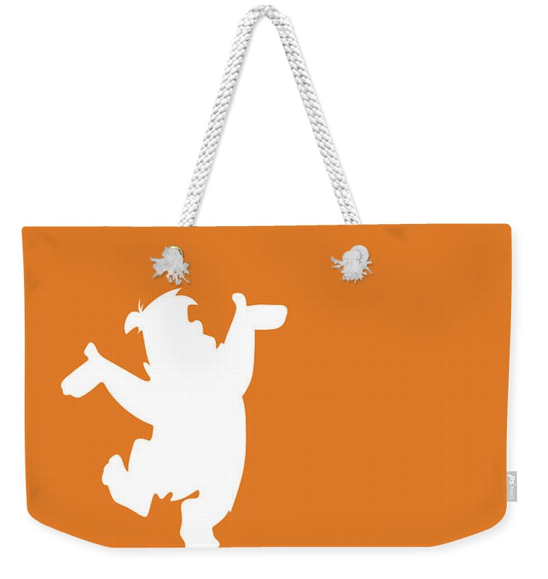 Looney Weekender Tote Bag featuring the digital art No04 My Minimal Color Code poster Fred Flintstone by Chungkong Art