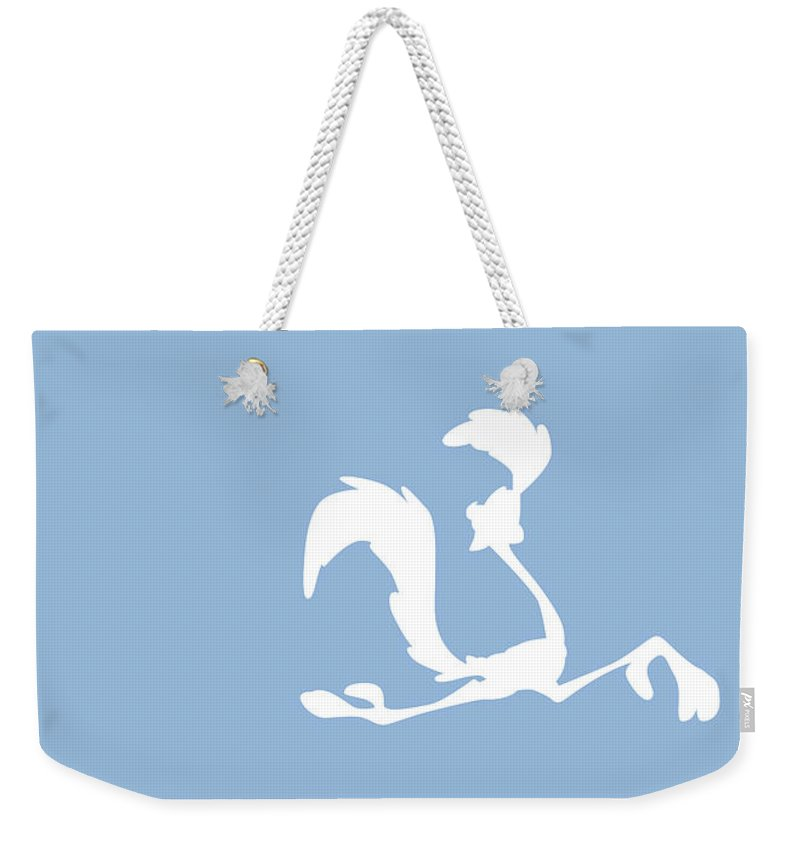 Looney Weekender Tote Bag featuring the digital art No05 My Minimal Color Code poster Road Runner by Chungkong Art