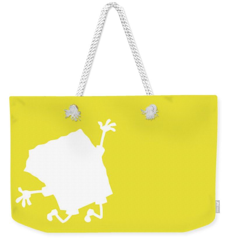 Looney Weekender Tote Bag featuring the digital art No10 My Minimal Color Code poster Spongebob by Chungkong Art